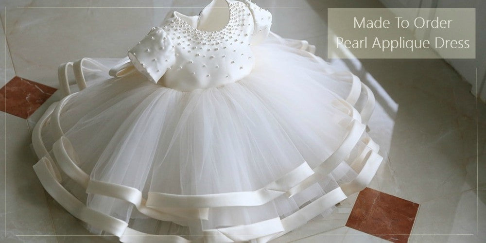 Girly Shop's White Tiered Layered Cap Sleeve Baptism Communion Dress