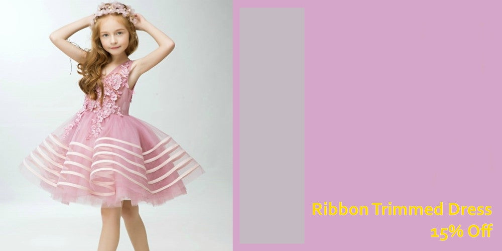 Girly Shop's Light Pink Ribbon Trimmed Little Girl Party Dress 2017