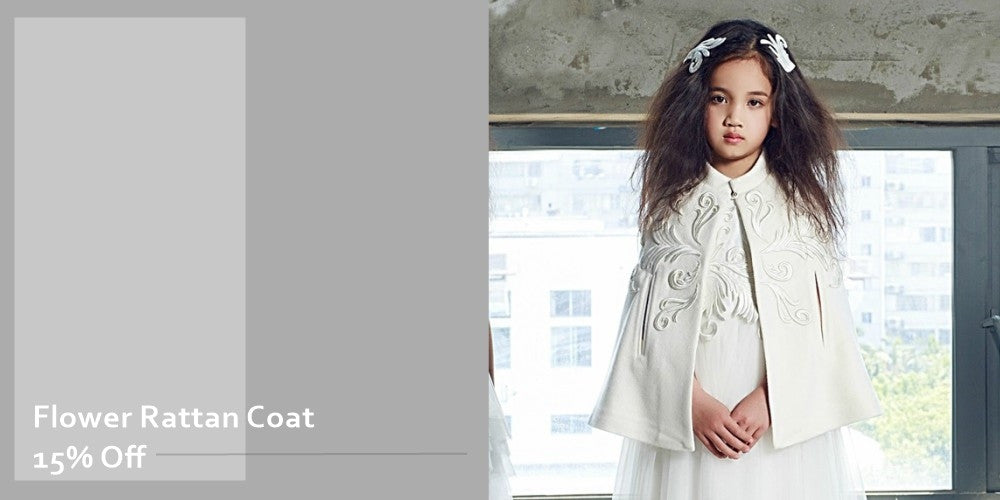 Girly Shop's White Embroidered Flower Rattan Coat