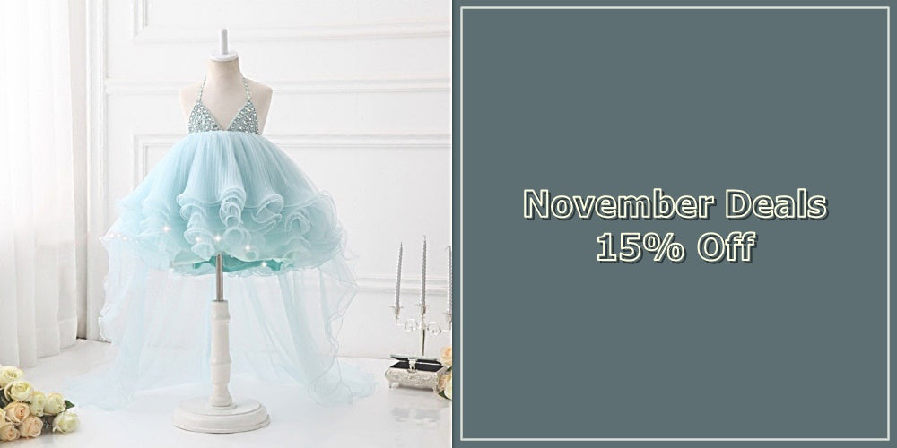Girly Shop I November Deals 15% Off Baby Infant Toddler Little & Big Girl High Low Train Gown