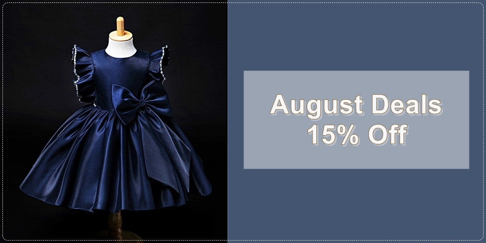 Get 15% Off Navy Blue & Red Little & Big Girl Birthday Party Dress