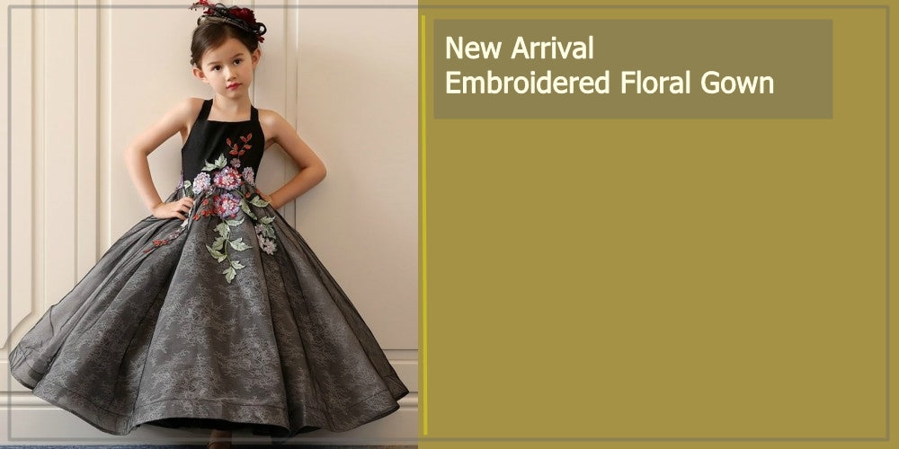 Girly Shop's Black & Gray Embroidered Floral Gown