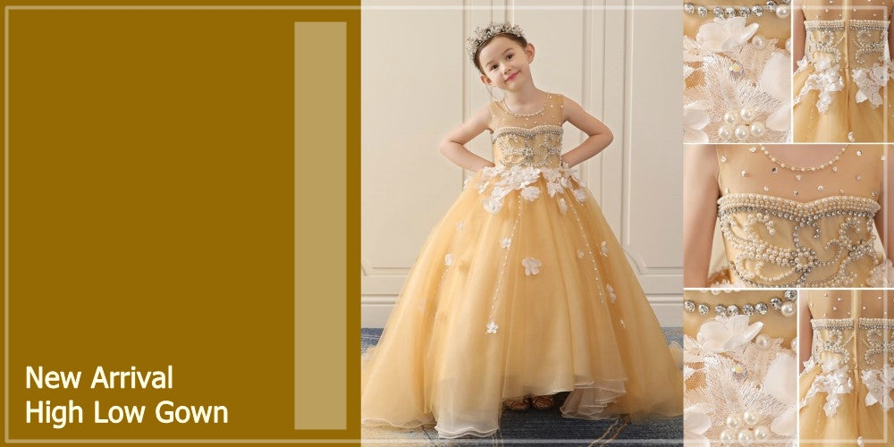 Girly Shop's Gold & Yellow Pearl Applique High Low Gown