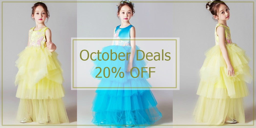 Girly Shop's October Deals 20% Off Tiered Layered Flower Girl Gown