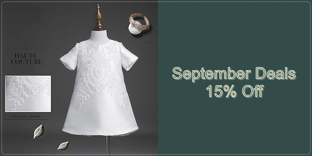 Girly Shop I September Deals 15% Off Haute Couture Children Floral White Dress