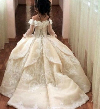 Girly Shop's White & Ivory Beautiful Sweetheart Neckline Off Shoulder Sheer Long Sleeve Floor Length Pageant Prom Princess Junior Bridesmaid Long Trail Embroidered Floral Lace Ball Gown (Victorian Style)