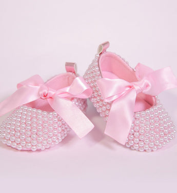 Girly Shop's Light Pink Pearl Baby Shoes Slippers