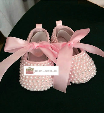 Girly Shop's Blush Pink Handmade Pearl Baby Girl Ballet Shoes