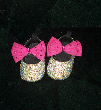 Girly Shop's Silver Bling Rhinestone Pink Bow Baby Girl Slippers