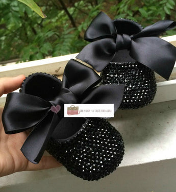 Girly Shop's Black Rhinestones Bling Baby Girl Party Shoes