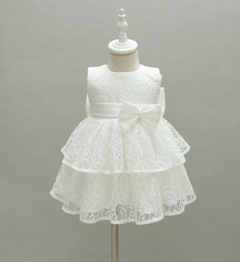 Girly Shop's White Big Bow Back Sleeveless Knee Length Baby Girl Tiered Lace Dress