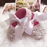 Girly Shop's White Pearl & Crystal Rhinestones Baby Girl Ballet Shoes