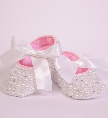 Girly Shop's White Pearl Rhinestone Baby Girl Ballet Shoes