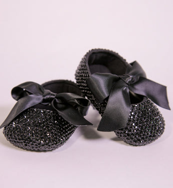 Girly Shop's Black Rhinestone Bling Baby Girl Ballet Shoes