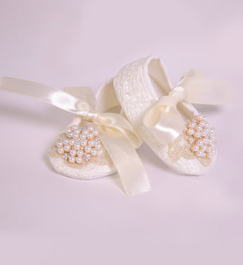 Girly Shop's Ivory Pearl & Rhinestone Baby Girl Lace Shoes