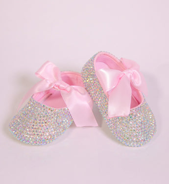 Girly Shop's Crystal Rhinestone & Pink Ribbon Baby Girl Ballet Shoes