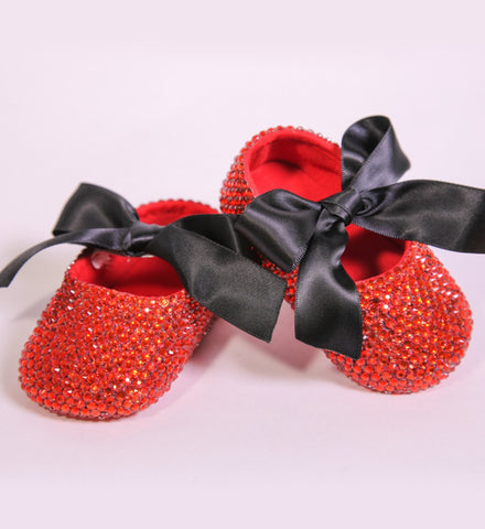 Girly Shop's Red & Black Rhinestone Baby Girl Princess Shoes