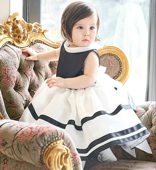 Girly Shop's Black & White Cute Folded Collar Sleeveless Knee/Tea Length Bow Back Baby Infant Toddler Little & Big Girl Tiered Ribbon Trimmed Party Dress