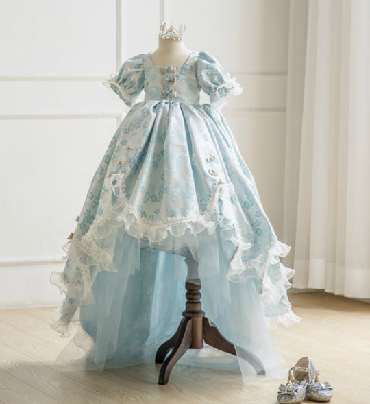 Girly Shop's Light Blue Beautiful Square Lace Short Sleeve Ankle - Floor Length Tiered Layered Baby Infant Toddler Little & Big Girl Vintage High Low Gown