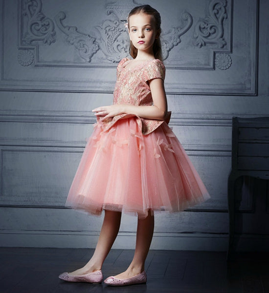 Girly Shop's Orange Elegant 3D Flower Applique Round Neckline Cap Sleeve Tea/Knee Length Little & Big Girl Tutu Dress