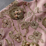 Girly Shop's Pink & Gold Flower Embroidery High Low Dress