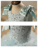 Girly Shop's Light Blue Beaded Applique Bow Shoulder Trail Pageant Prom Princess Junior Bridesmaid Puffy Ball Gowns