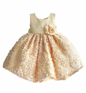 Girly Shop's Beige Cute Round Neckline Sleeveless Knee Length Baby Infant Toddler Little Girl Flower Petal Dress