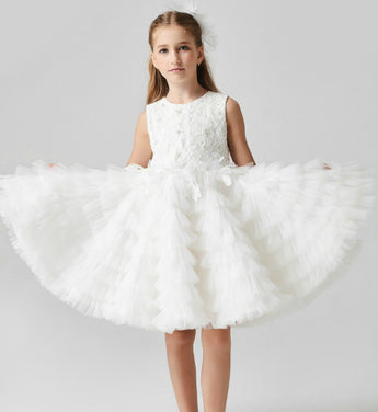 Girly Shop's White Floral Embroidered Applique Round Neckline Sleeveless Knee Length Tiered Layered Infant Toddler Little & Big Girl Party Dress