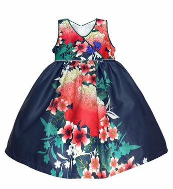 Girly Shop's Dark Blue Cute Sweetheart Neckline Sleeveless Knee Length Infant Toddler Little Girl Flower Print Party Dress