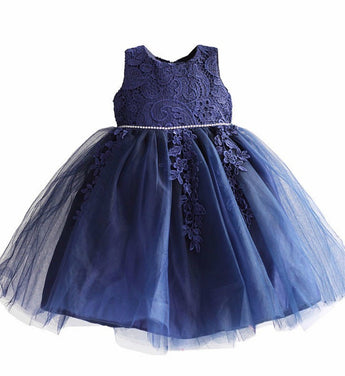 Girly Shop's Dark Blue Cute Round Neckline Sleeveless Knee Length Infant Toddler Little Girl Big Bow Embroidery Flower Party Dress