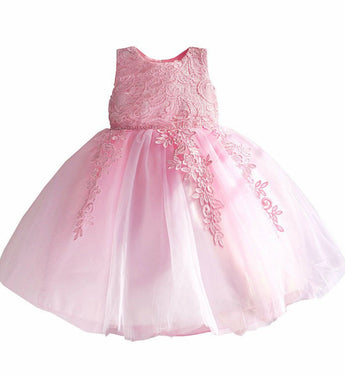 Girly Shop's Pink Cute Round Neckline Sleeveless Knee Length Infant Toddler Little Girl Big Bow Embroidery Flower Party Dress