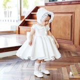 Girly Shop's White Peter Pan Collar Cap Sleeve Knee Length Big Bow Back Little Girl Ruffle Dress