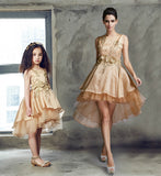 Girly Shop's Gold Mother Daughter High Low Gown