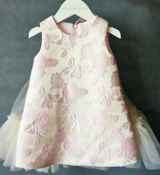 Girly Shop's Beige Unique Design Jacquard Embroidered Flower Applique Round Neckline Sleeveless Knee Length Bow Back Baby Infant Toddler Little Girl Dress With Detachable Chiffon Cape - Wings