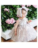 Girly Shop's Ivory Beautiful Embroidered Mesh Flower Semi-Sheer Round Neckline Sleeveless Big Bow Back Knee Length Little Girl Party Dress