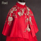 Girly Shop's Red Handmade Beaded Applique Embroidered Gold Flower Rattan Mummy & Me Matching Cape/Cloak