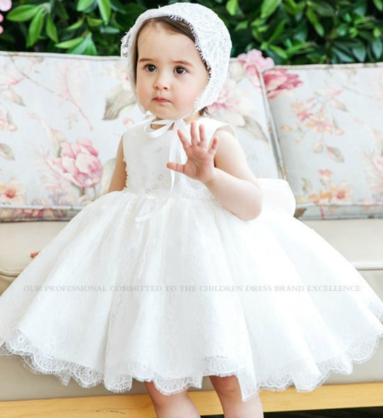 Girly Shop's White Beautiful Embroidered Flower Lace Round Neckline Sleeveless Big Bow Back Knee Length Baby Little & Big Girl Party Dress