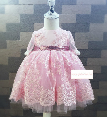 Girly Shop's Pink Cute Sparkle Gold Sequin Applique Round Neckline Short Sleeve Knee Length Bow Back Baby Infant Toddler Little & Big Girl Party Lace Dress