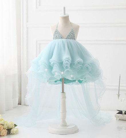 Girly Shop's Light Blue Elegant & Beautiful Beaded & Rhinestones Applique Sleeveless Knee Length Backless Tiered Layered Baby Infant Toddler Little & Big Girl Party Halter Neck Gown With Long Trail
