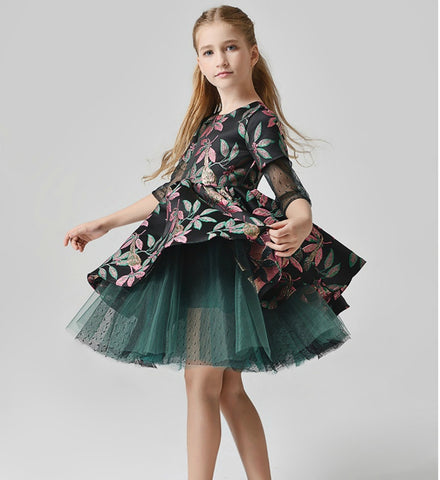 Girly Shop's Black & Dark Green Flower Embroidery Round Neckline Sheer Half Sleeve Knee Length Tiered layered Infant Toddler Little & Big Girl Jacquard Tutu Dress