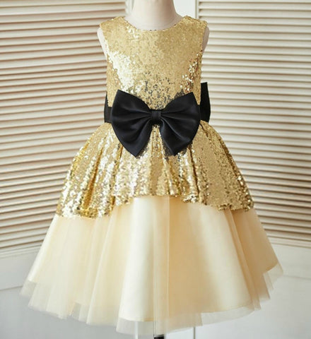 Girly Shop's Gold Sleeveless Round Neckline Midi Knee Length Gold Sequin Little & Big Girl Party Dress With Black Big Bow Sash Belt
