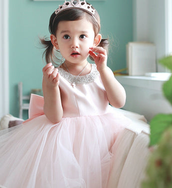 Girly Shop's Pink Round Neckline Sleeveless Knee Length Big Bow Back Baby Infant Toddler Little & Big Girl Curly Dress