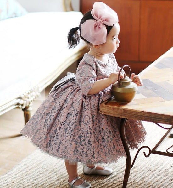 Girly Shop's Gray Pink Beautiful Beaded Applique Round Neckline Short & Long Sleeve Knee - Tea Length Big Bow Back Baby Infant Toddler Little & Big Girl Party Lace Dress