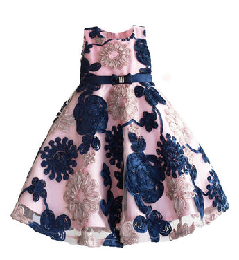 Girly Shop's Pink & Blue Beautiful & Cheap Round Neckline Sleeveless Knee Length Infant Toddler Little & Big Girl Ribbon Flower Dress