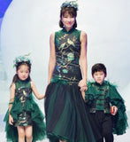 Girly Shop's Dark Green 3D Ostrich Feather Semi Sheer High Neckline Sleeveless Tiered Ruffle Keyhole Back Infant Toddler Little & Big Girl High Low Mother Daughter Dress