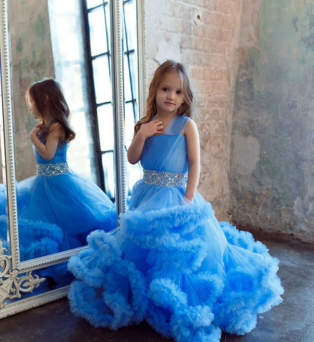 Girly Shop's Blue Sleeveless Floor Length Crystal Sash Belt Fluffy Cloud Flower Girl Tiered Gown