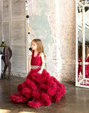 Girly Shop's Burgundy Sleeveless Floor Length Crystal Sash Belt Fluffy Cloud Flower Girl Tiered Gown