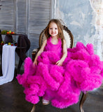 Girly Shop's Fuchsia Sleeveless Floor Length Crystal Sash Belt Fluffy Cloud Flower Girl Tiered Gown