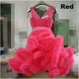 Girly Shop's Red Sleeveless Floor Length Crystal Sash Belt Fluffy Cloud Flower Girl Tiered Gown