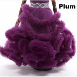 Girly Shop's Plum Sleeveless Floor Length Crystal Sash Belt Fluffy Cloud Flower Girl Tiered Gown